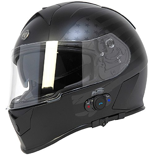 Torc T14B Bluetooth Integrated Mako Full Face Helmet with Flag Graphic (Flat...
