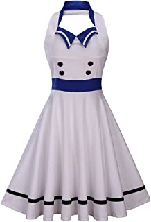 Wellwits Women's Vintage Pin Up Sailor Collar Halter Swing Dress