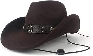 JAUROUXIYUJI New Women's Men's Rivets Punk Wind Wool Winter Western Cowboy Hat Gentleman Jazz Sombrero Elegant Lady Cowgirl Hat (Color : Brown, Size : 56-59cm)