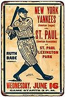 S-RONG雑貨屋素敵なティンサインアルミレトロ1926年ニューヨークヤンキースとベイブルース対。セントポールメタルサイン8 x 12インチ