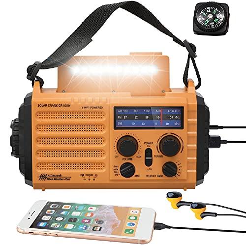 5000mAh Weather Radio,Solar Hand Crank Emergency Radio,NOAA/AM/FM Shortwave Outdoor Survival...
