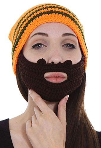 Simplicity Men's Women's Beard Hat Beanie Winter Warm Knit Outdoor Cap Orange