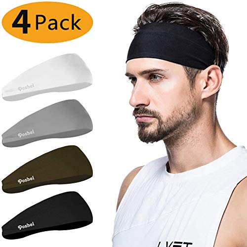 poshei Mens Headband (4 Pack), Mens Sweatband & Sports Headband for Running, Cycling, Yoga, Basketball - Stretchy Moisture Wicking Unisex Hairband
