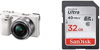 SONY ミラーレス一眼 α6000 パワーズームレンズキット E PZ 16-50mm F3.5-5.6 OSS ホワイト ILCE-6000L W + SanDisk エコパッケージ サンディスク ウルトラ SDHCカード 32GB Class10 UHS-I 読取り最大40MB/秒 SDSDUNH-032G-GHENN 10年保証