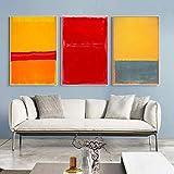 Abstracto Mark Rothko Lienzo Arte de la pared Pinturas en lienzo Carteles e impresiones famosos Cuadros en lienzo para la decoración de la sala de estar 3 piezas (40x50cm) sin marco