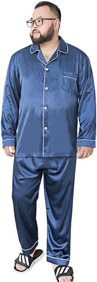 Men's Pyjamas Set Nightshirts Sleepwear Pajamas Autumn Plus Fat Size Suit Guy Loose Long-Sleeved Trousers Simulation Silk Home Service Section,Navy Blue,195