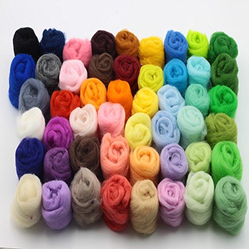 CHENGYIDA 7 Color Curly Hair Coils of Wool Felt Carded Sheep Wool,Roving,Fiber,Needle Felting,Spinning 5g per Color