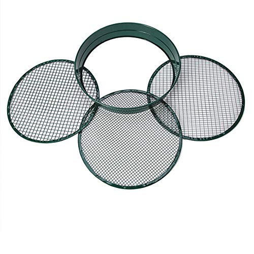Contains three sizes of circular screens | Round sieve 33cm Ø | Earth sieve for seeds earth compost stones weeds gravel | Stackable | Very robust | Rustproof