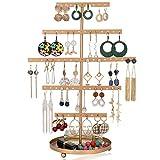 Soporte para pendientes con bandeja, 5 capas, organizador de pendientes, soporte para joyas, soporte para joyas, árbol con bandeja para relojes, anillos y labios (dorado)