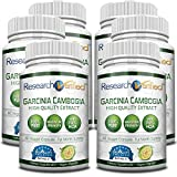 Garcinia Cambogia Pure Extract 95% HCA (Top Proven Potency) by Research Verified - All Natural Appetite Suppressant and Weight Loss Supplement - Pack of 6