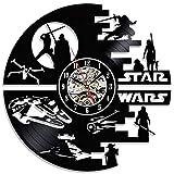 スターウォーズデスプラネットビニールレコード壁時計映画キャラクター進化ビニールレコードデザイン壁時計ギフト,B