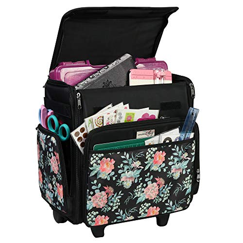 Everything Mary Collapsible Rolling Craft, Flowers - Wheeled Scrapbook Tote for Scrapbooking & Art - Travel Organizer Storage Bin for Paper, Glue, Tape - Roller Cart for Teachers & Medical