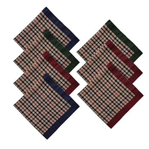 Y&G MH1050 Handmade Family Brown Checkers Anniversary Presents 7 Pic Hankies Mens Cotton Handmade Gift Giving