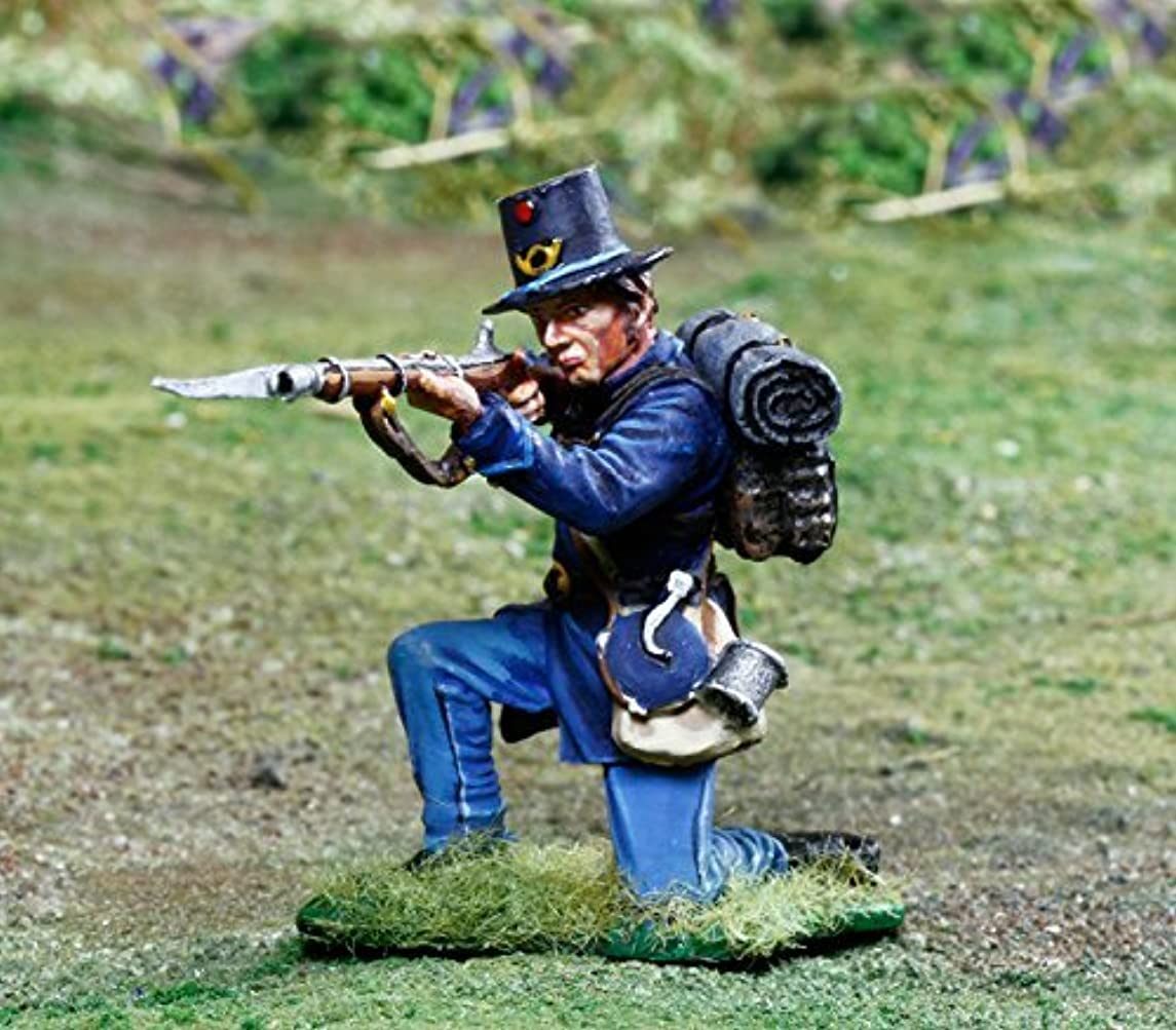 Civil War Toy Soldiers 2nd Wisconsin Iron Brigade Infantry Kneeling Firing Battle of Gettysburg Figure Collectors Showcase Toy Soldiers Painted Metal Figure 1/32 Britains King Country Gunn First Legion Type CS00848