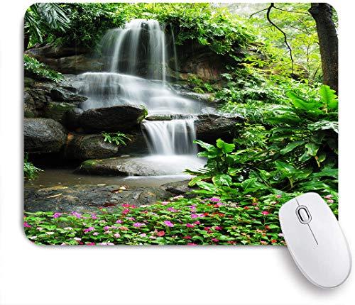Dekoratives Gaming-Mauspad,Wasserfall Teich Blumen tropische Pflanzen Majestätischer frischer Dschungelgarten ,Bürocomputer-Mausmatte mit rutschfester Gummibasis