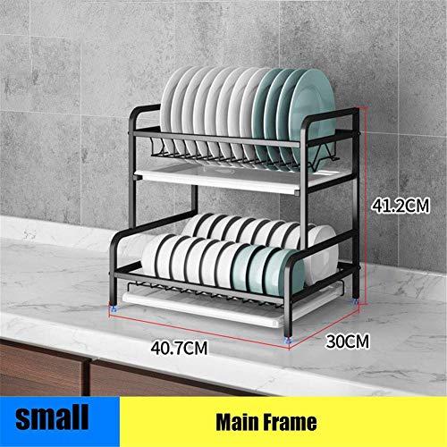 FEE-ZC Praktisches Geschirrtrocknergestell aus Edelstahl 304 für die Küche, multifunktionaler Abtropfflächen-Regalhalter Küchen-Abtropffläche für Küchenarbeitsplatte, schwarz, A