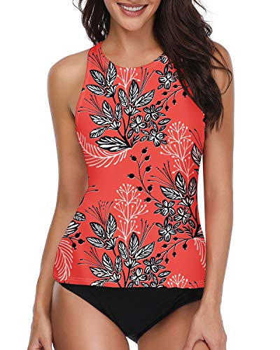 Holipick Women Tankini Swimsuit High Neck Halter Tummy Control Two Piece Bathing Suit Red S