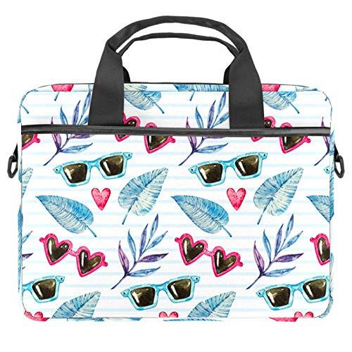 Sunglasses & Leaves Laptop Bags 13.4-14.5-Inch Business Laptop Shoulder Removable Strap Satchel Case Laptop Briefcase