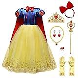 IWEMEK Traje de Princesa Blancanieves Disfraz de Carnaval con Cabo Accesorios 9pcs Vestido de Cosplay para Niñas Disfraces de Halloween Navidad Cumpleaños Comunión Fiesta 4-5 años