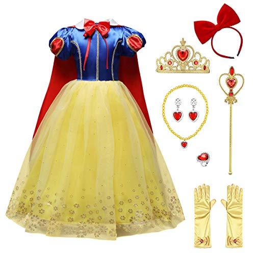 FYMNSI Disfraz de Princesa Blancanieves para niña, Vestido con Capa, Accesorios, Carnaval, cumpleaños, Fiesta, Disfraz para niños, Color Blanco Amarillo 5-6 Años