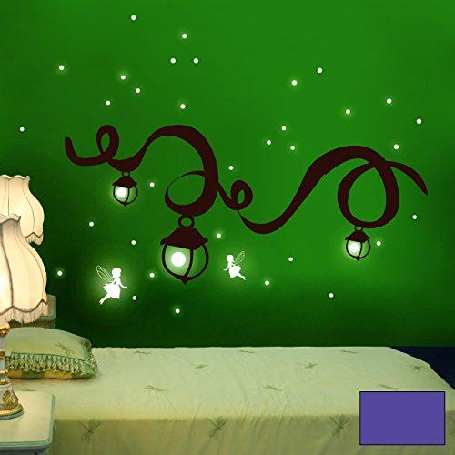 ilka parey wandtattoo-welt Sticker Mural Wall Art Fairy Dream Fate Fluorescente M940 XL - 97cm breit x 55cm Hoch + Punkte Mauve