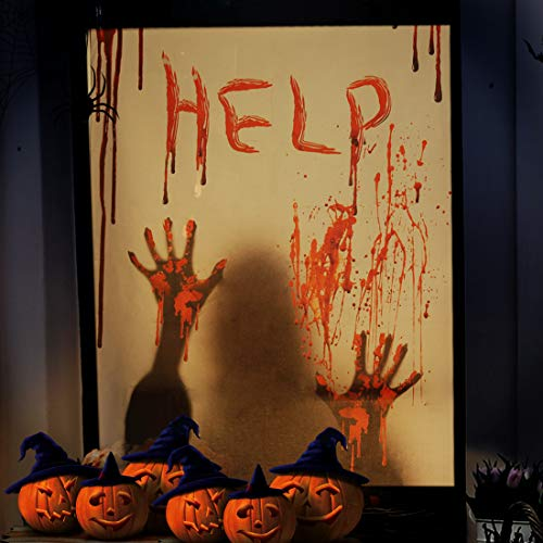 ALUCKY Halloween Window Cover, Halloween Decorations Indoor Party Bloody Curtain, Door Cover, Halloween Scary Help Window Posters Zombie Hands Decoration for Haunted House, 39 x 29''