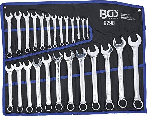 BGS 9290 | Maul-Ringschlüssel-Satz | 25-tlg. | SW 6 - 32 mm | inkl. Tetron-Rolltasche | Gabelringschlüssel