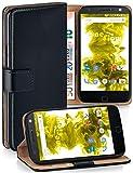 MoEx Étui Folio à Support vidéo Compatible avec Motorola Moto X4 | Fente pour Argent/Cartes, Noir