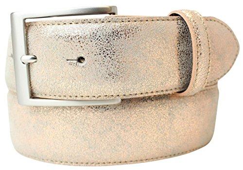 Hochwertiger Gürtel Metall-Optik Echt Leder 4 cm | Leder-Gürtel Metallic-Look 40mm | Metall-Ledergürtel | Roségold 90cm