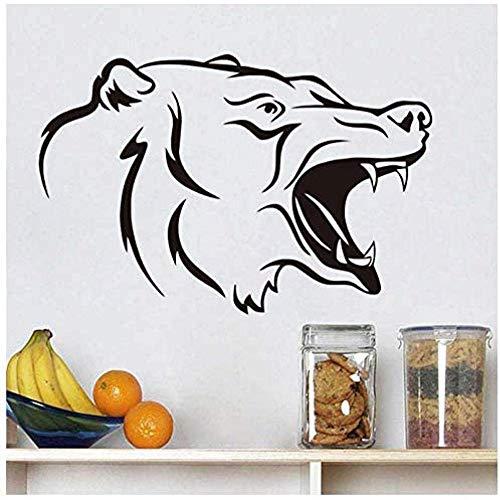 Pegatinas de Pared,Oso Animal rugiente para la sala de estar cabeza de oso vinilo extraíble pared arte calcomanías carteles Mural papel tapiz decoración del hogar 88cmX58cm