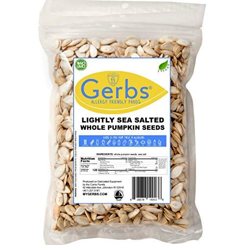 GERBS Lightly Sea Salted Whole Pumpkin Seeds, 14 ounce Bag, Roasted, Top 14 Food Allergy Free, Non GMO, Vegan, Keto, Paleo Friendly