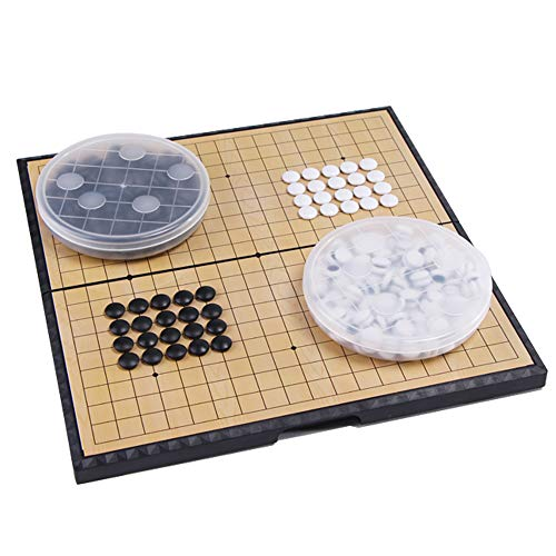 Magnetic Travel Go Board Go Game Board Set Portable Folding go Boards and Stones We Games Go Board with Bowls for Game of Go, Pente, Gomoku, Gobang 301 Stones