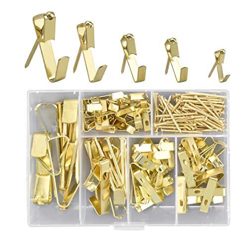 Perchas para cuadros con clavos,YMWALK 130 piezas de alta resistencia Foto Ganchos para cuadros Kit para colgar cuadros Hardware para colgar para lienzo, cuadros de oficina, reloj, espejo