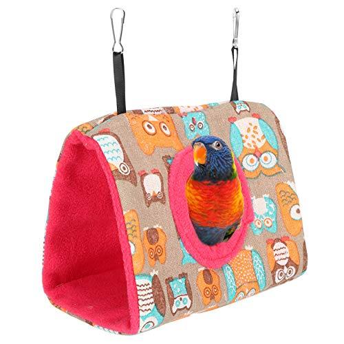 Rodipu Cama Colgante para pájaros, Hamaca Liviana y cálida para Loros Que se Seca rápidamente para Jugar y esconderse para los pájaros(L, Owl + Rose Red Bottom)