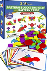 MAKES A GREAT GIFT – for kids ages 3 to 8 years old, preschool to 2nd grade, kids like it because it's fun, parents like it because kids learn while they play PLENTY OF SHAPES AND PATTERNS — with 130 pieces of wooden blocks and 24 designs to choose f...