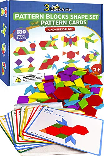 3 Bees & Me Wooden Pattern Blocks - Fun Montessori Learning Toys for Ages 3 to 9 - Tangram Shapes Set with 155 Pieces
