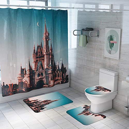 Huft - Juego de 4 cortinas de ducha antideslizantes de poliéster para baño, estilo africano
