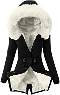 Ladies Faux Fur Lining Coat Womens Winter Warm Thick Long Jacket Hooded Overcoat Fashion Trench...