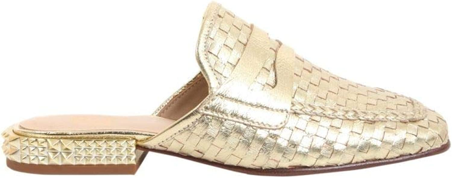 Ash Women's ELOISE01 gold Leather Loafers