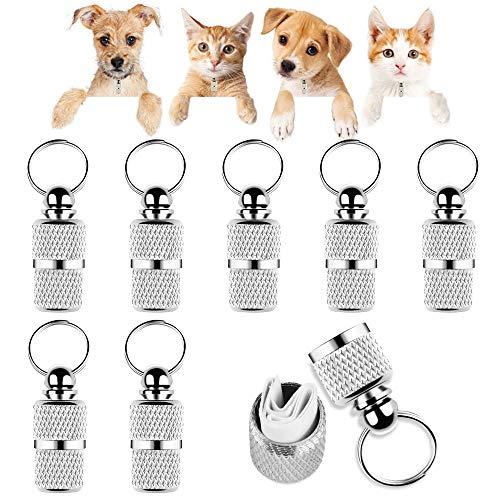 Yangfei 8pcs Etiquetas de Mascotas Etiqueta de Perro y Gato Placas de Identificación para Perros Etiquetas Personalizadas para Perros y Gatos, Evitar la Pérdida de Mascotas (Color Plata,con Papel)