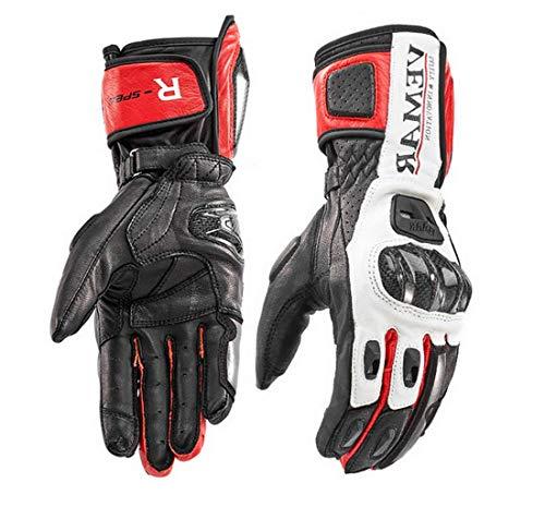Vemar Guantes de moto profesionales de piel Motocross Racing Pista protección carbono (XXL, rojo)
