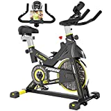 pooboo Indoor Cycling Bike, Belt Drive Indoor Exercise Bike Stationary LCD Monitor with Ipad Mount &Comfortable Seat Cushion for Home Cardio Workout Cycle Bike Training