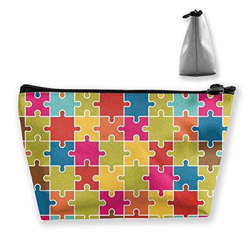 Jigsaw Puzzle Pieces Icon Pattern Colorful Womens Travel Cosmetic Bag Portable Toiletry Brush Storage Durable Pen Pencil Bags Accessories Sewing Kit Pouch Makeup Carry Case
