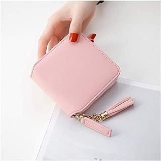 -HAPPY-STORE- Wallet Women Coin Purses Female Zipper Leather Money Holders Wallets Clutch Bag (Pink)