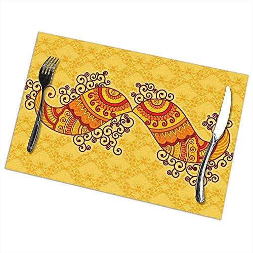 Suo Long Napperons pour Table à Manger, Vecteur de Moustache dans Un Tapis de Table de Style Art Indien