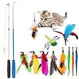 Juguetes para Gatos Juguete Gatito Retráctiles Varita de gato Juguetes Teaser con Campana Recargas Juguete Pluma de Gato Interactivos para Interior Gatito Ejercicio