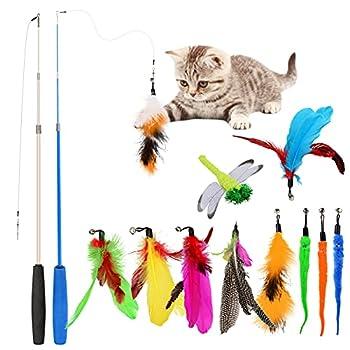 Jouets pour chat et chaton - Baguette rétractable - Avec clochette - Recharges - Jouet pour chat en intérieur - Jouet interactif