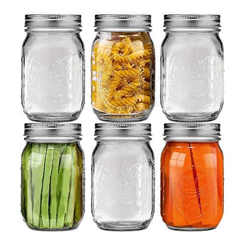 Tarros de cristal con tapa, 6PCS 1L tarros de mermelada especias cuencos de postre tapas de acero inoxidable divididas para la cocina para fiestas bodas conservas