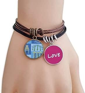Singapore Travel Landmark Love Bracelet Leather Rope Wristband Couple Set