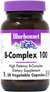 Bluebonnet Nutrition B Complex 100 Vegetable Capsules, Complete Full Spectrum, Vitamin B6, B12, Biotin, Folate, Vegan, Veg...